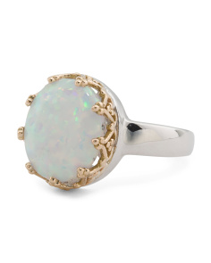 Sterling Silver And 14k Gold Oval Opal Crown Set Ring