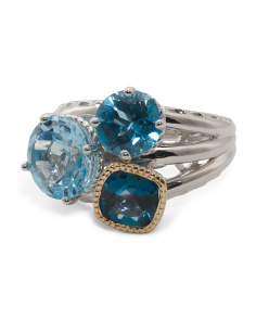 Made In Thailand Sterling Silver 14k Gold Blue Topaz Triple Ring