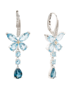 Made In Thailand Sterling Silver And 14k Gold Blue Topaz Earrings