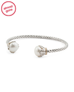 Sterling Silver And 14k Gold Pearl Rope Bangle Bracelet