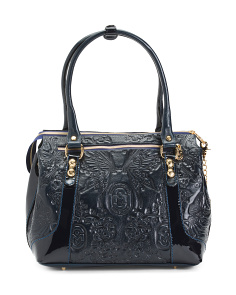 Made In Italy Embossed Leather Satchel
