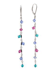 Sterling Silver Swarovski Multi-colored Shades Linear Earring