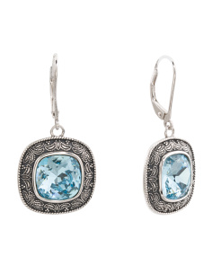 Sterling Silver Swarovski Crystal Scroll Detail Earrings
