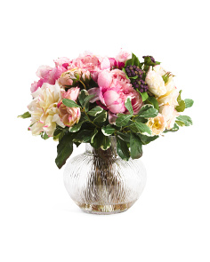 16in Peony Arrangment In Glass Vase