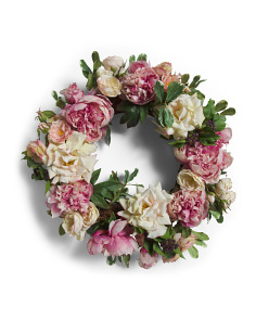 24in Faux Rose And Peony Wreath