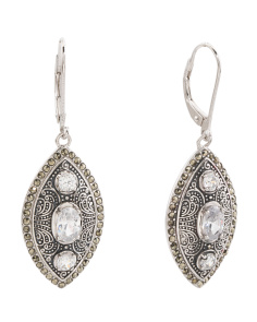 Sterling Silver Marcasite And Cubic Zirconia Earrings