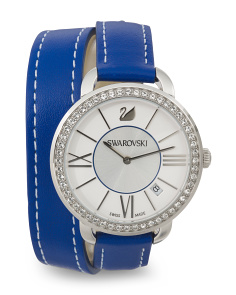Women's Swiss Made Alia Day Double Tour Leather Strap Watch