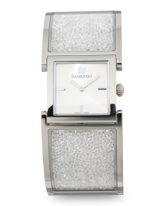 Women's Swiss Made Crystalline Crystal Covered Bangle Watch