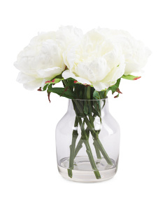 13in Faux Peony In Glass Vase