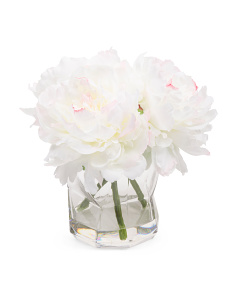 8.5in Faux Peony In Glass