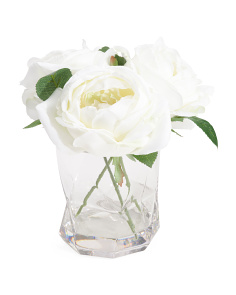 8in Cabbage Rose In Glass Pot