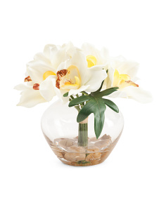 8in Cymbidium In Glass Vase