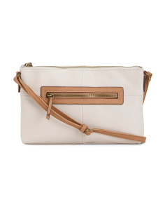 Leather East West Shape Crossbody