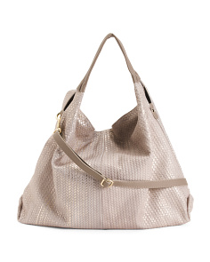 Made In Italy Woven Metallic Leather Hobo