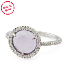 Made In Italy 18k White Gold Amethyst And Diamond Ring