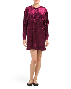 Velvet Dress With Sweetheart Ruffle