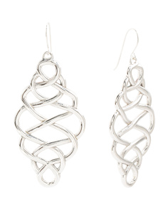 Made In Israel Sterling Silver Earrings Infinity Drop Earrings