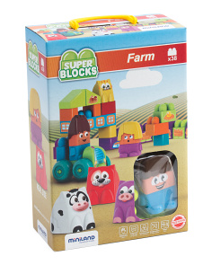 Made In Spain 38pc Super Blocks Farm Set