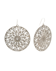 Made In Israel Sterling Silver Filigree Circle Earrings