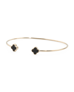 Made In USA 14k Gold Onyx Quatrefoil Open Bangle Bracelet