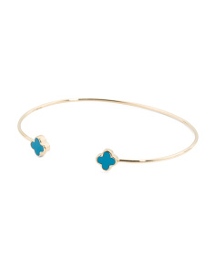 Made In USA 14k Gold Turquoise Quatrefoil Bangle Bracelet