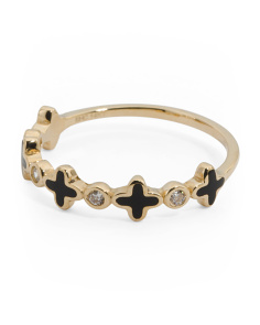 Made In USA 14k Gold CZ And Enamel Quatrefoil Ring