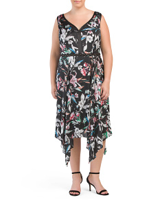 Plus Floral Asymmetrical Hem Dress