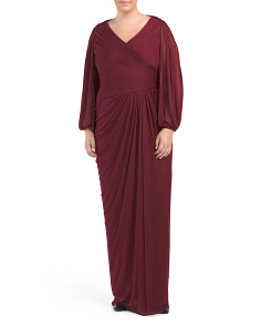 Plus Neck Detail Drape Gown
