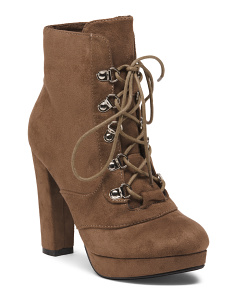 High Heel Lace Up Booties
