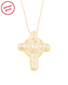 18k Gold Plated Sterling Silver Rose Cut Cubic Zirconia Cross Necklace
