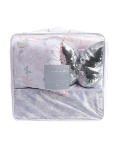 Kids Butterfly Postcard Comforter And Pillow Set