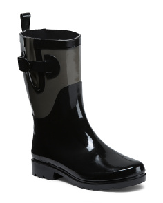 Two Tone Mid Calf Rain Boots