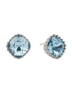 Sterling Silver Swarovski Aquamarine Post Earrings