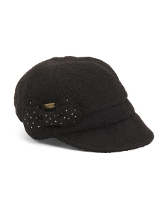 Wool Cap With Bow And Rhinestones