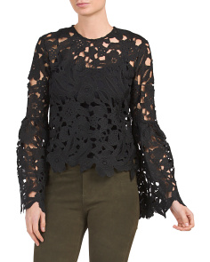 Juniors Crochet Lace Bell Sleeve Top