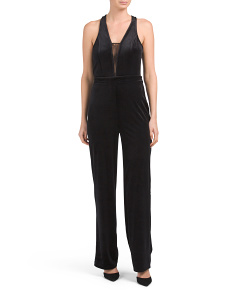 Juniors Mesh Inset Jumpsuit