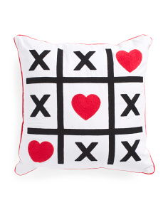 20x20 Embroidered Xo Hearts Pillow