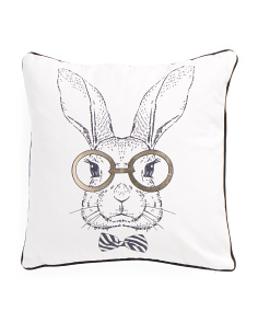 18x18 Bunny With Glasses Pillow