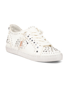 Leather Sneakers With Silver Tone Stud Details