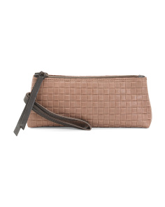 Made In Italy Leather Woven Pouchette