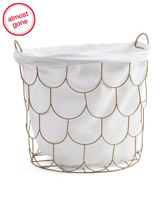 15in Fish Scale Metal Lined Storage Basket