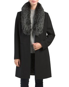 Angie Wool Coat With Faux Fur Collar