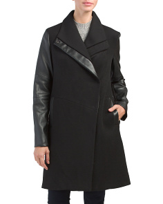 Taylor Faux Leather Trim Coat