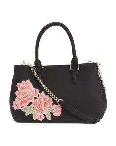 Rose Embroidery Satchel