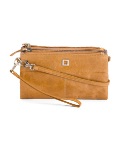 RFID Leather Crossbody Wristlet