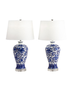 Set Of 2 Hand Painted Lamps
