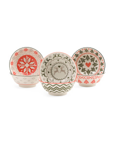 6pk Holiday Pattern Bowls
