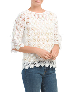 Made In Italy Hand Cut Lace Top