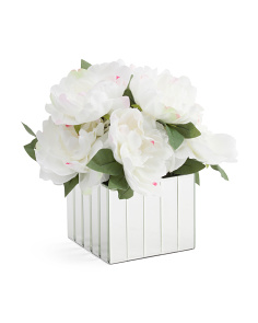 12in Faux Peony In Glass Container