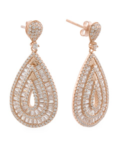14k Rose Gold Plated Sterling Silver Cubic Zirconia Teardrop Earrings